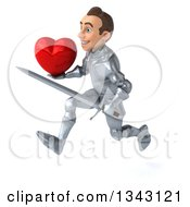 Clipart Of A 3d Caucasian Male Armored Knight Holding A Red Love Heart And Sword Sprinting To The Left Royalty Free Illustration
