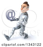 Clipart Of A 3d Caucasian Male Armored Knight Holding An Email Arobase At Symbol And Speed Walking To The Left Royalty Free Illustration
