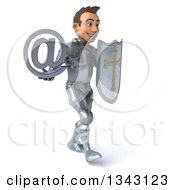 Clipart Of A 3d Caucasian Male Armored Knight Holding An Email Arobase At Symbol And Shield Walking To The Right Royalty Free Illustration