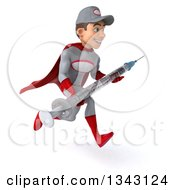 Clipart Of A 3d Young White Male Super Hero Mechanic In Gray And Red Holding A Giant Vaccine Syringe And Sprinting To The Right Royalty Free Illustration