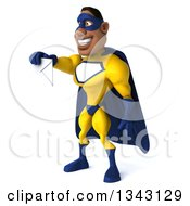 Clipart Of A 3d Muscular Black Male Super Hero In A Yellow And Blue Suit Facing Slightly Left And Holding Out An Envelope Royalty Free Illustration
