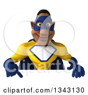 Clipart Of A 3d Muscular Black Male Super Hero In A Yellow And Blue Suit Pointing Down Over A Sign Royalty Free Illustration by Julos