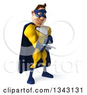 Clipart Of A 3d Muscular Black Male Super Hero In A Yellow And Blue Suit Facing Slightly Right And Using A Tablet Computer Royalty Free Illustration