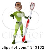 Clipart Of A 3d Young Black Male Super Hero In A Green Suit Giving A Thumb Down And Holding A Giant Toothbrush Royalty Free Illustration by Julos