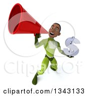 Clipart Of A 3d Young Black Male Super Hero In A Green Suit Holding A Dollar Currency Symbol And Announcing Upwards With A Megaphone Royalty Free Illustration by Julos