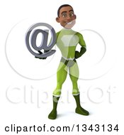 3d Young Black Male Super Hero In A Green Suit Holding An Email Arobase At Symbol