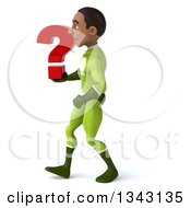 Clipart Of A 3d Young Black Male Super Hero In A Green Suit Holding A Question Mark And Walking To The Left Royalty Free Illustration by Julos