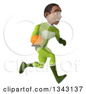 Clipart Of A 3d Young Black Male Super Hero In A Green Suit Holding A Navel Orange And Sprinting To The Right Royalty Free Illustration by Julos