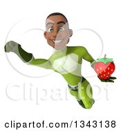 Clipart Of A 3d Young Black Male Super Hero In A Green Suit Holding A Strawberry And Flying Royalty Free Illustration by Julos