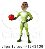 Clipart Of A 3d Young Black Male Super Hero In A Green Suit Holding A Tomato Royalty Free Illustration by Julos