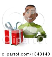 Clipart Of A 3d Young Black Male Super Hero In A Green Suit Holding A Gift Over A Sign Royalty Free Illustration by Julos