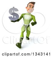 Clipart Of A 3d Young White Male Super Hero In A Green Suit Holding A Dollar Currency Symbol And Speed Walking Royalty Free Illustration