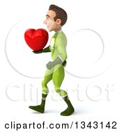 Clipart Of A 3d Young White Male Super Hero In A Green Suit Holding A Heart And Walking To The Left Royalty Free Illustration