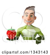 Clipart Of A 3d Young White Male Super Hero In A Green Suit Holding A Strawberry Over A Sign Royalty Free Illustration