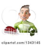 Clipart Of A 3d Young White Male Super Hero In A Green Suit Holding A Beef Steak Over A Sign Royalty Free Illustration by Julos