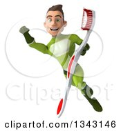 Clipart Of A 3d Young White Male Super Hero In A Green Suit Flying With A Giant Toothbrush Royalty Free Illustration by Julos