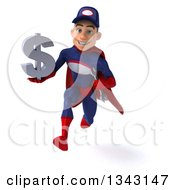 Clipart Of A 3d Young White Male Super Hero Mechanic In Red And Dark Blue Holding A Dollar Currency Symbol And Sprinting Royalty Free Illustration