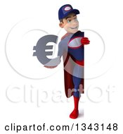 Clipart Of A 3d Full Length Young White Male Super Hero Mechanic In Red And Dark Blue Holding A Euro Currency Symbol And Looking Around A Sign Royalty Free Illustration