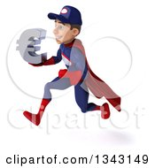 Clipart Of A 3d Young White Male Super Hero Mechanic In Red And Dark Blue Holding A Euro Currency Symbol And Sprinting To The Left Royalty Free Illustration