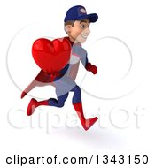 Clipart Of A 3d Young White Male Super Hero Mechanic In Red And Dark Blue Holding A Red Love Heart And Sprinting To The Right Royalty Free Illustration