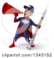 Clipart Of A 3d Young White Male Super Hero Mechanic In Red And Dark Blue Holding A Giant Vaccine Syringe And Announcing To The Left With A Megaphone Royalty Free Illustration