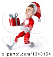 3d Young White Male Super Hero Santa Holding A Christmas Gift And Speed Walking To The Left
