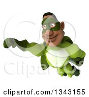 Clipart Of A 3d Flying Buff Male Black Super Hero In Green Royalty Free Illustration