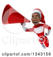 Clipart Of A 3d Young Black Male Christmas Super Hero Santa Flying And Announcing With A Megaphone Royalty Free Illustration by Julos