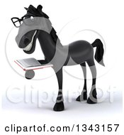 Clipart Of A 3d Bespectacled Black Horse Facing Slightly Left And Reading A Book Royalty Free Illustration