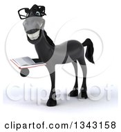 Clipart Of A 3d Bespectacled Black Horse Facing Slightly Left And Holding A Book Royalty Free Illustration by Julos