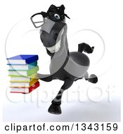 Clipart Of A 3d Bespectacled Black Horse Running And Holding A Stack Of Books Royalty Free Illustration