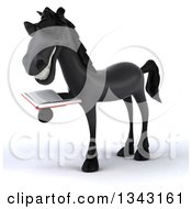 Clipart Of A 3d Black Horse Wearing Sunglasses Facing Slightly Left And Reading A Book Royalty Free Illustration by Julos