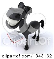 Clipart Of A 3d Black Horse Wearing Sunglasses Looking Up And Holding A Book Royalty Free Illustration by Julos