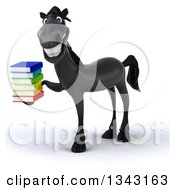 Clipart Of A 3d Black Horse Facing Left Smiling And Holding A Stack Of Books Royalty Free Illustration by Julos