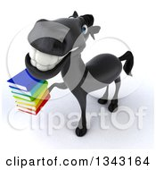 Clipart Of A 3d Black Horse Facing Slightly Left Looking Up And Holding A Stack Of Books Royalty Free Illustration by Julos
