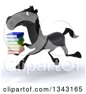 Clipart Of A 3d Black Horse Running To The Left And Holding A Stack Of Books Royalty Free Illustration by Julos