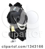 Clipart Of A 3d Black Horse Holding Champagne Around A Sign Royalty Free Illustration