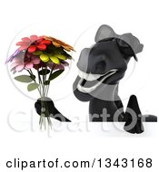 Clipart Of A 3d Black Horse Wearing Sunglasses And Holding A Flower Bouquet Over A Sign Royalty Free Illustration