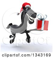 Clipart Of A 3d Black Christmas Horse Running To The Right Left And Holding A Gift Royalty Free Illustration by Julos