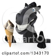 Clipart Of A 3d Black Horse Holding A Waffle Ice Cream Cone Over A Sign Royalty Free Illustration by Julos