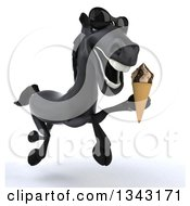 Clipart Of A 3d Black Horse Wearing Sunglasses And Holding A Waffle Ice Cream Cone And Running Slightly To The Right Royalty Free Illustration by Julos