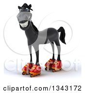 Clipart Of A 3d Black Horse Standing In Roller Blades Royalty Free Illustration by Julos