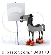 Clipart Of A 3d Black Horse In Roller Blades Looking Up At A Blank Sign Royalty Free Illustration by Julos