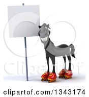 Clipart Of A 3d Black Horse In Roller Blades By A Blank Sign Royalty Free Illustration by Julos