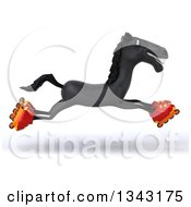 Clipart Of A 3d Black Horse Leaping And Roller Blading Royalty Free Illustration by Julos