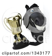 Clipart Of A 3d Black Horse Holding A Championship Trophy Around A Sign Royalty Free Illustration