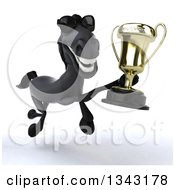 Clipart Of A 3d Black Horse Wearing Sunglasses And Running Slightly To The Right With A Championship Trophy Royalty Free Illustration
