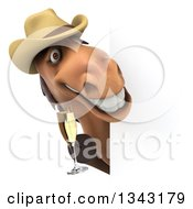 Clipart Of A 3d Brown Cowboy Horse Holding A Glass Of Champagne Around A Sign Royalty Free Illustration by Julos