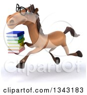 Clipart Of A 3d Bespectacled Brown Horse Running To The Left With A Stack Of Books Royalty Free Illustration