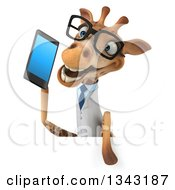 Clipart Of A 3d Bespectacled Happy Doctor Or Veterinary Giraffe Talking On A Smart Phone Over A Sign Royalty Free Illustration by Julos
